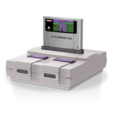 Super Cartridge Converter for SNES docked with cartridge
