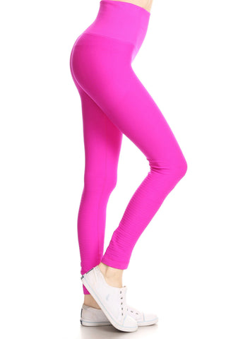 Hot Pink High Waisted Performance Leggings with High Compression