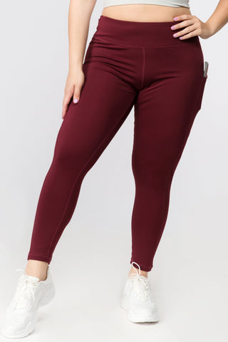 High Waisted Tech Pocket Leggings - Burgundy
