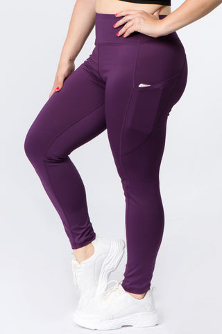 High Waisted Tech Pocket Leggings - Purple