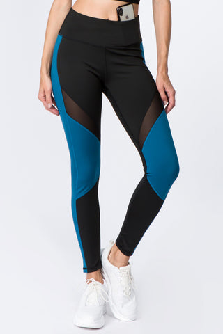 High Rise Colorblock Mesh Leggings with Pockets