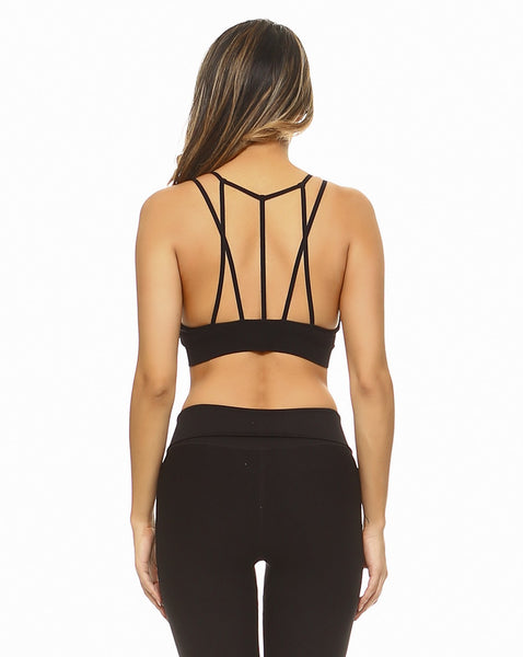 Strappy Sports Bra with Front Mesh - Black