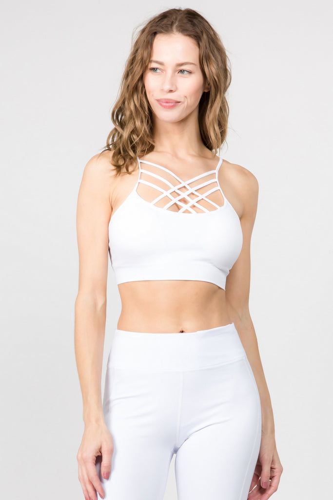 Seamless Caged Neck Sports Bra - White