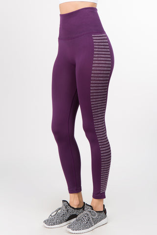 Plum Striped High Waisted Leggings
