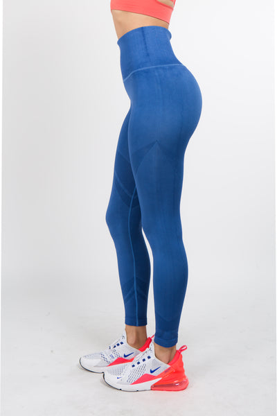Blue Shadow Stripe High Waisted Leggings