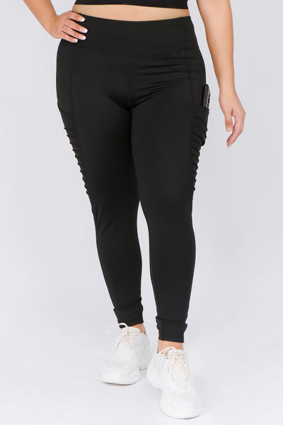 High Waisted Leggings with Mesh and Moto Pockets - Black