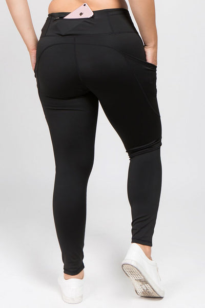High Waisted Tech Pocket Leggings - Black