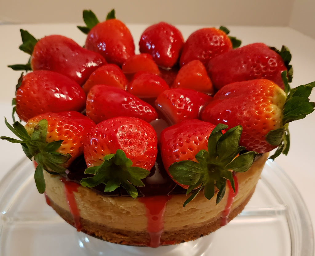 New York Cheesecake top with Chocolate and Strawberries