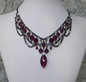 Amethyst And Gunmetal Dainty Victorian Swags Necklace