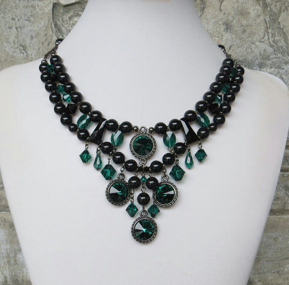Black Emerald And Gunmetal In Rivoli Necklace