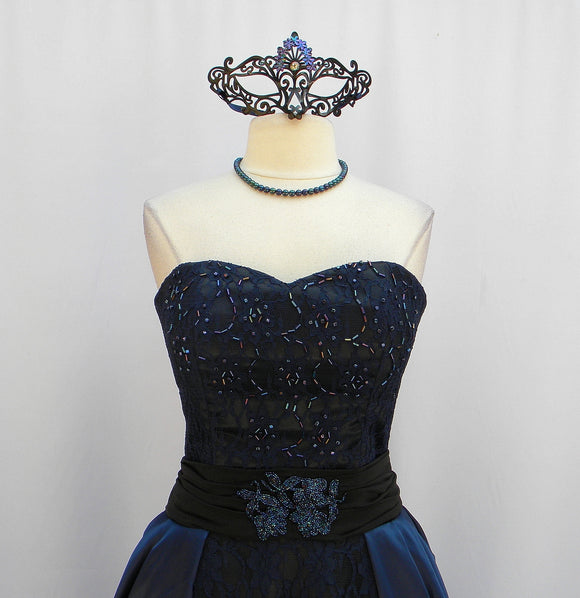 Blackened Midnight Blue Iris Masquerade Gown