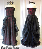 Black Lace,Organza, Chiffon With Wine Gown and Mask Set
