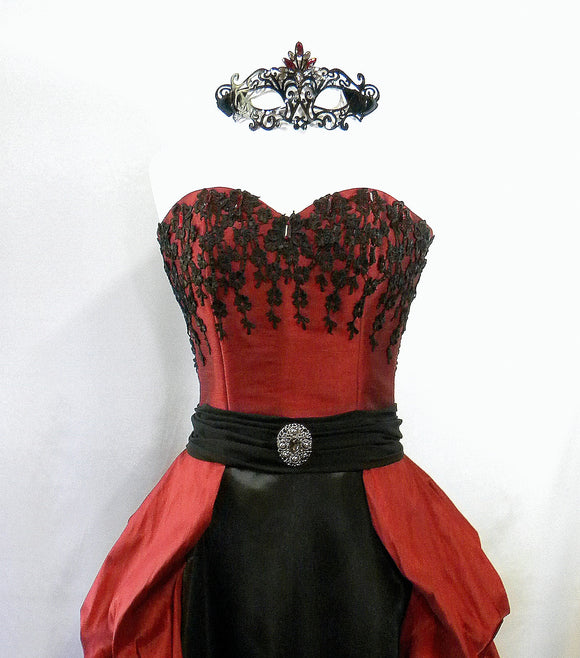 Black And Ruby Red Masquerade Fancy Ballgown