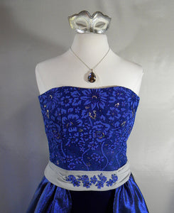 Electric Blue and Silver Sparkle Strapless Masquerade Gown Mask And Necklace