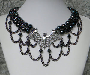 Heavily Beholding The Bat Hematite Choker