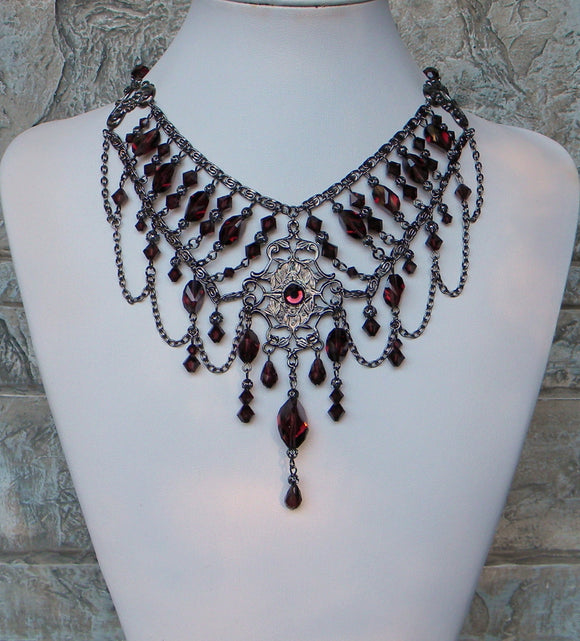 Burgundy And Gunmetal Bold Regency Crystal Necklace