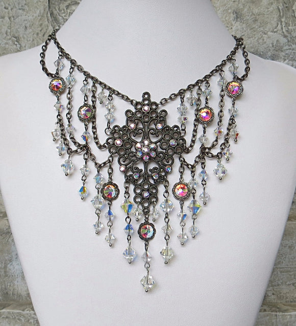 Crystals Galore Necklace Gunmetal Clear AB