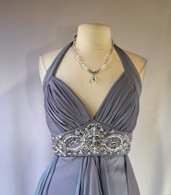 Halter Top Maxi Formal, Dusty Blue Greek Goddess Draped Gown