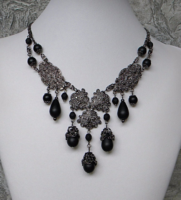 Dark Gunmetal Filigree With Black Drops Necklace