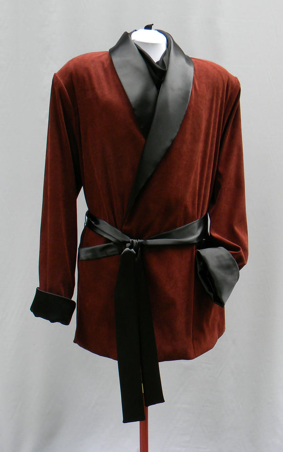Burgundy Gomez Addams Smoking Jacket With Black Ascot