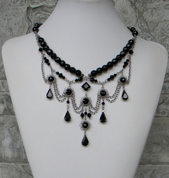 Graceful Black With Oxidized Silver Necklace