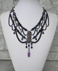 Gracefully Gothic Black Matte And Purple Velvet Necklace