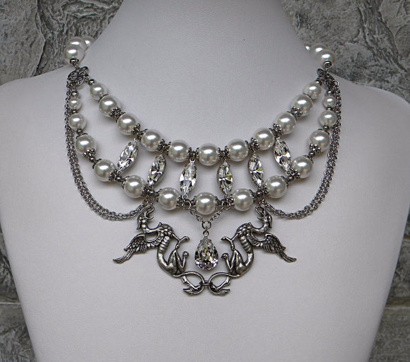 Griffins in white pearls and silver necklace