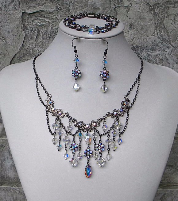 Gunmetal and Borealis Dainty Jewelry Set