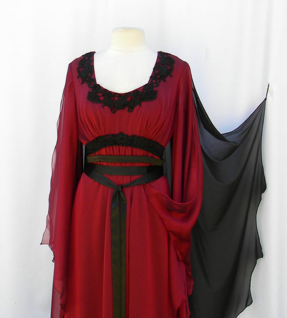Lily Munster Inspired Gothic Red And Black Dress