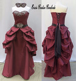 Merlot Sparkle Bustled Back Embellished Masquerade Gown With Mask