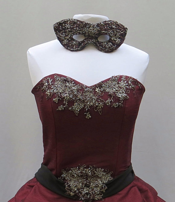 Merlot Sparkle Masquerade Gown With Mask