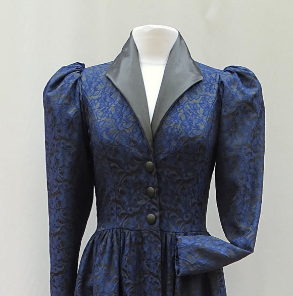 Midnight Black Blue Rose Victorian Long Jacket