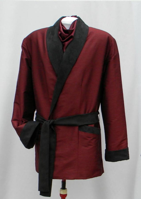 Mister Merlot Smoking Jacket With Ascot In Burgundy And Black