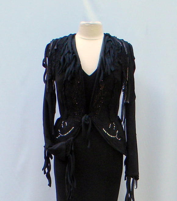 Morticia Addams Dress With Embellished Jacket