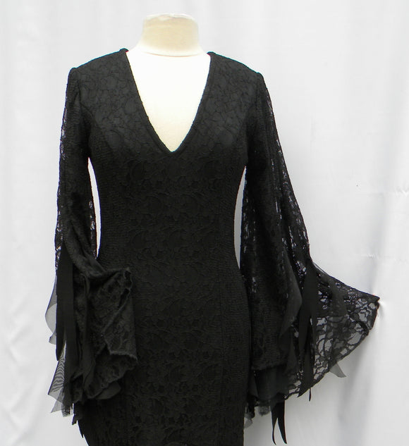 Morticia Addams Flounced Lace Allure Dress