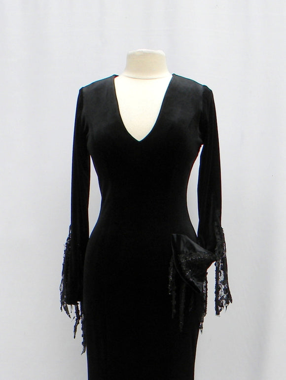 Morticia Addams Velvet Laced Bling Dress