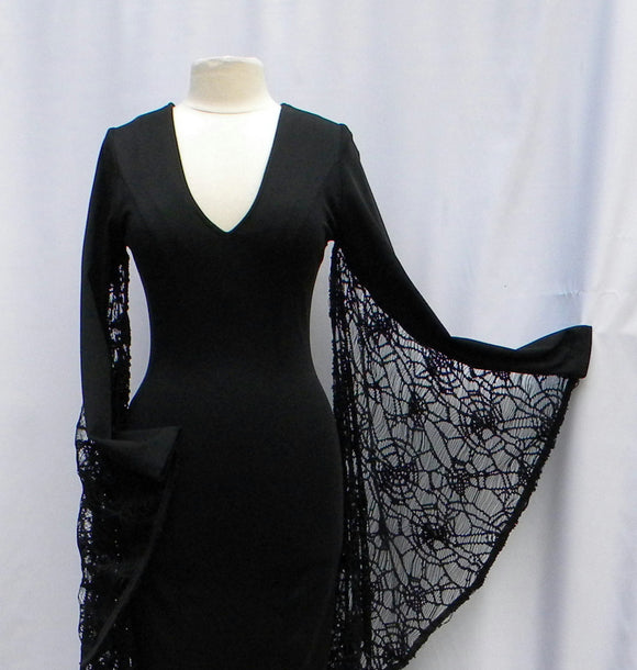 Morticia Addams Web Winged Witch Dress