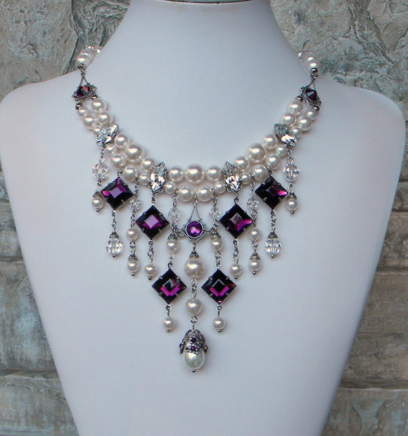Pearl And Amethyst Purple Rhinestones Necklace