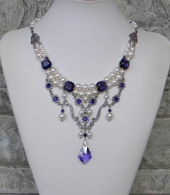 Pearl And Rhinestone Menagerie Purple And White Necklace