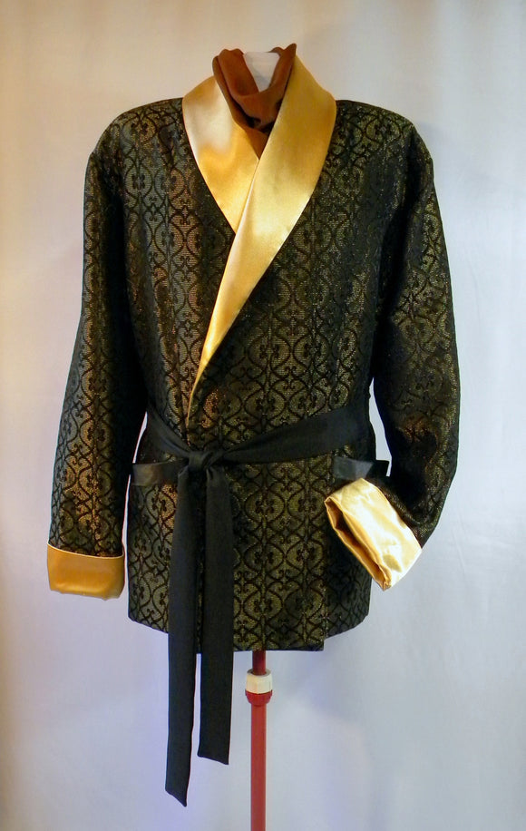 Spiffy Smoking Jacket in Festive Holiday Gold