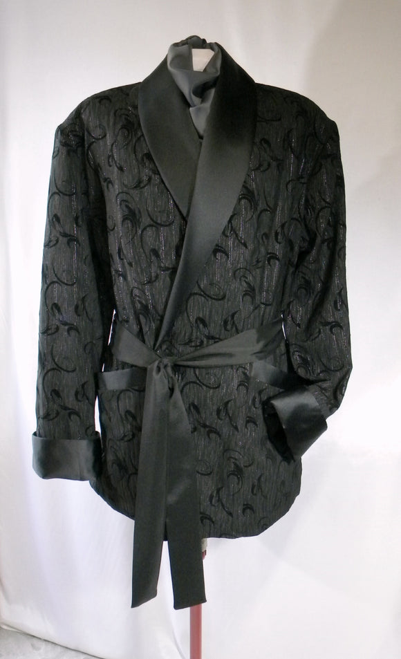 Spiffy Smoking Jacket Black Flocked With Subtle Silver