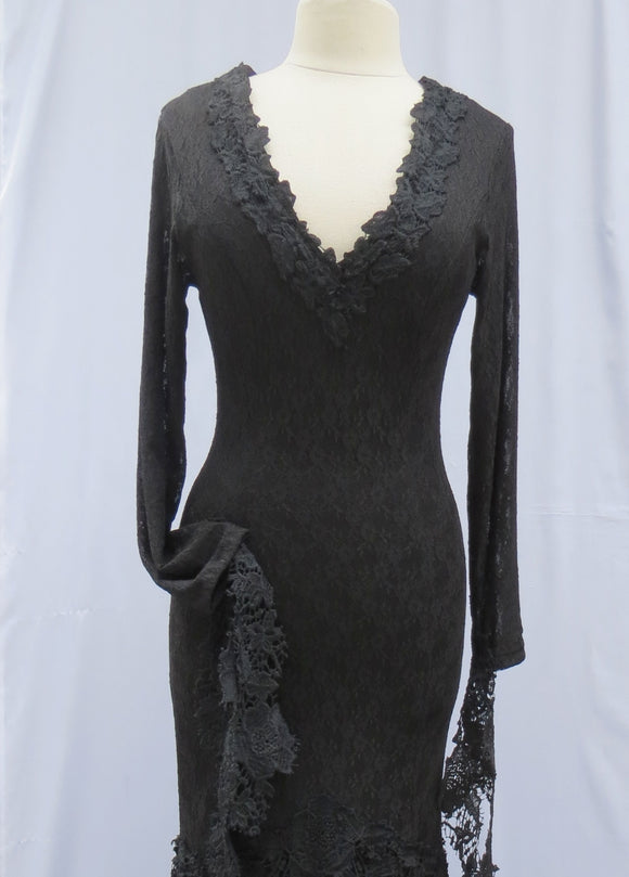 Morticia Addams Tattered Lace Dress