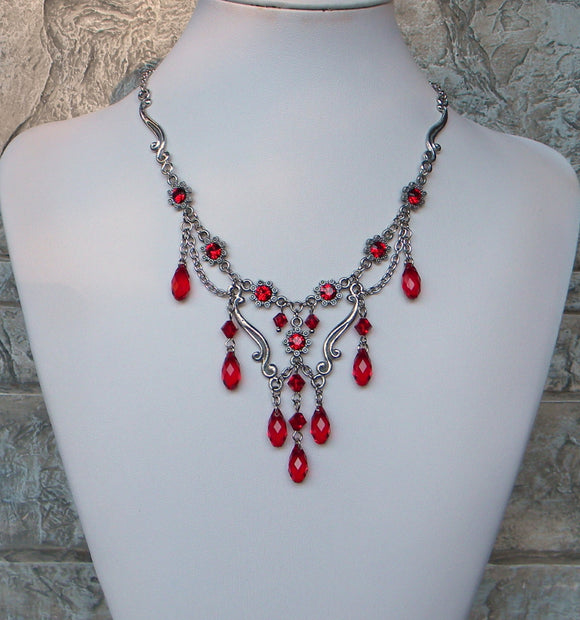 Traditional Touch Necklace In Siam Red