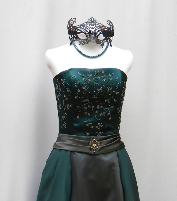 Beaded Teal And Gray Masquerade Gown With Mask
