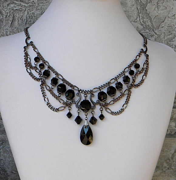 Black & Gunmetal Pear Pendant With Chain Swags Necklace