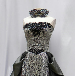 Black And White Print Masquerade Gown With Mask