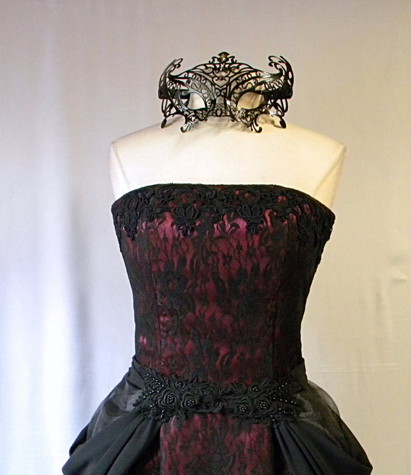 Strapless Masquerade Gown and Mask Set, Bustled Evening Dress, Black Lace and Burgundy