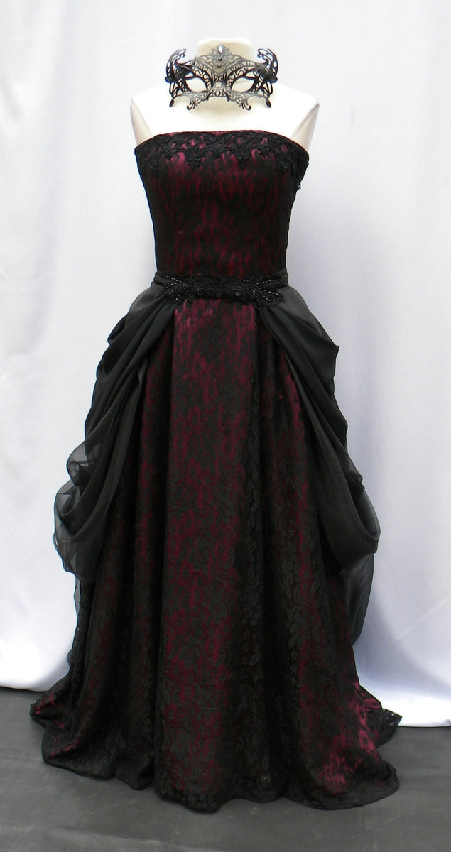 Masquerade Gown Bustled Burgundy And Black Erica S