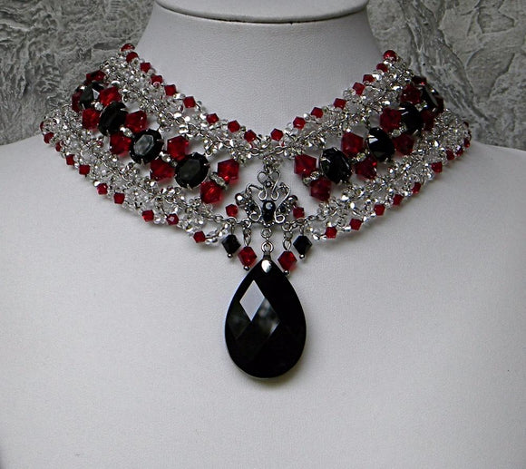 Black Red and Silver Regency Queen Beaded Choker