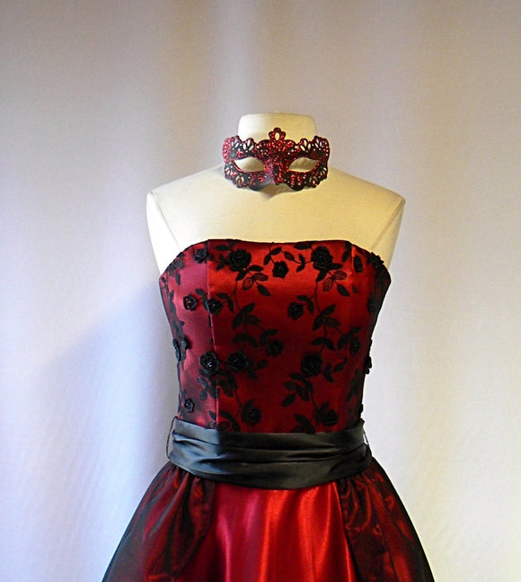 Strapless Black Lace and Red Satin Beaded Appliqued Masquerade Gown and Mask Set